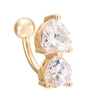 Puncture Ornament Double Love Heart Zircon Navel Ring   gold plated white zircon - Mega Save Wholesale & Retail