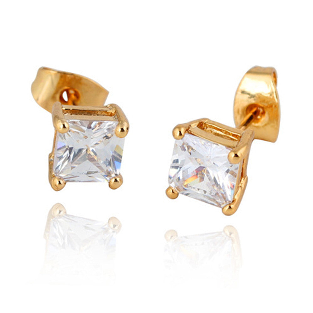 Square Zircon Earings Couples Design   gold plated white zircon - Mega Save Wholesale & Retail