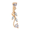 Body Puncture Ornament Leaf Navel Ring   gold plated white zircon - Mega Save Wholesale & Retail
