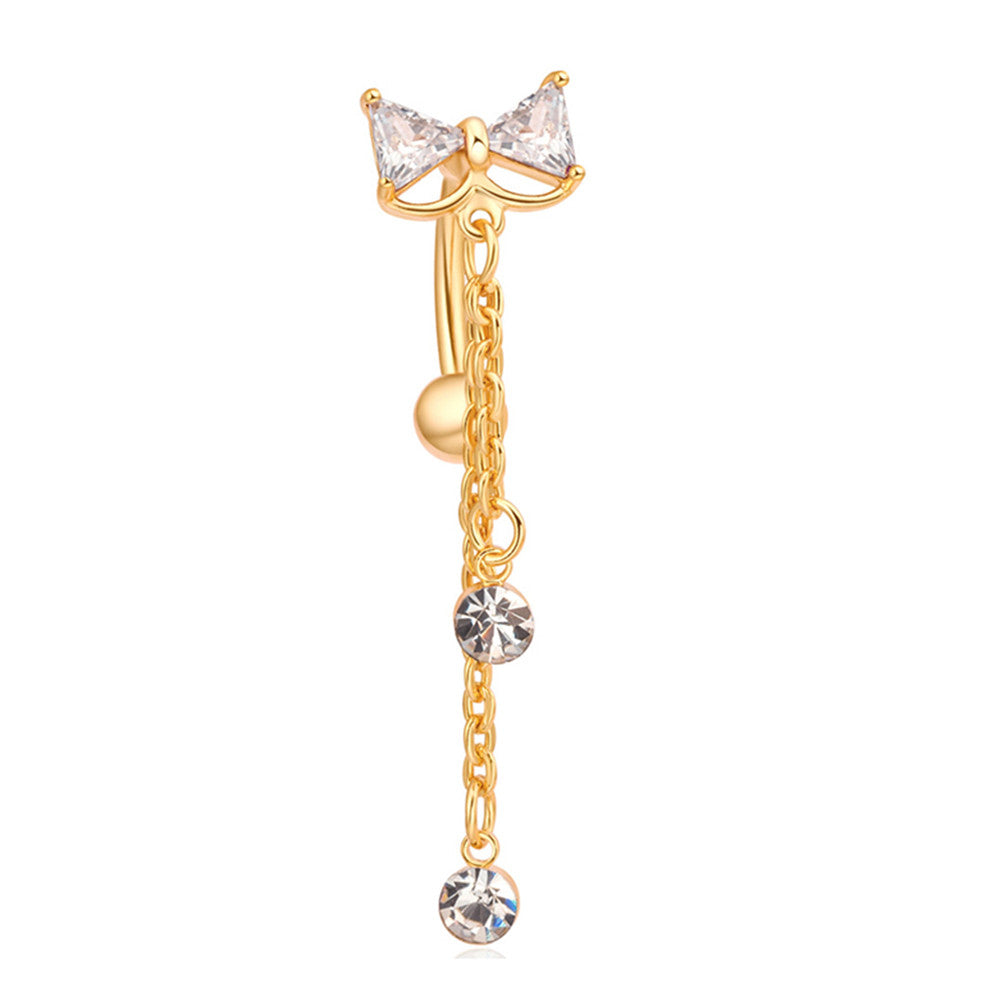 Bowknot Navel Ring Buckle Body Puncture   gold plated white zircon - Mega Save Wholesale & Retail