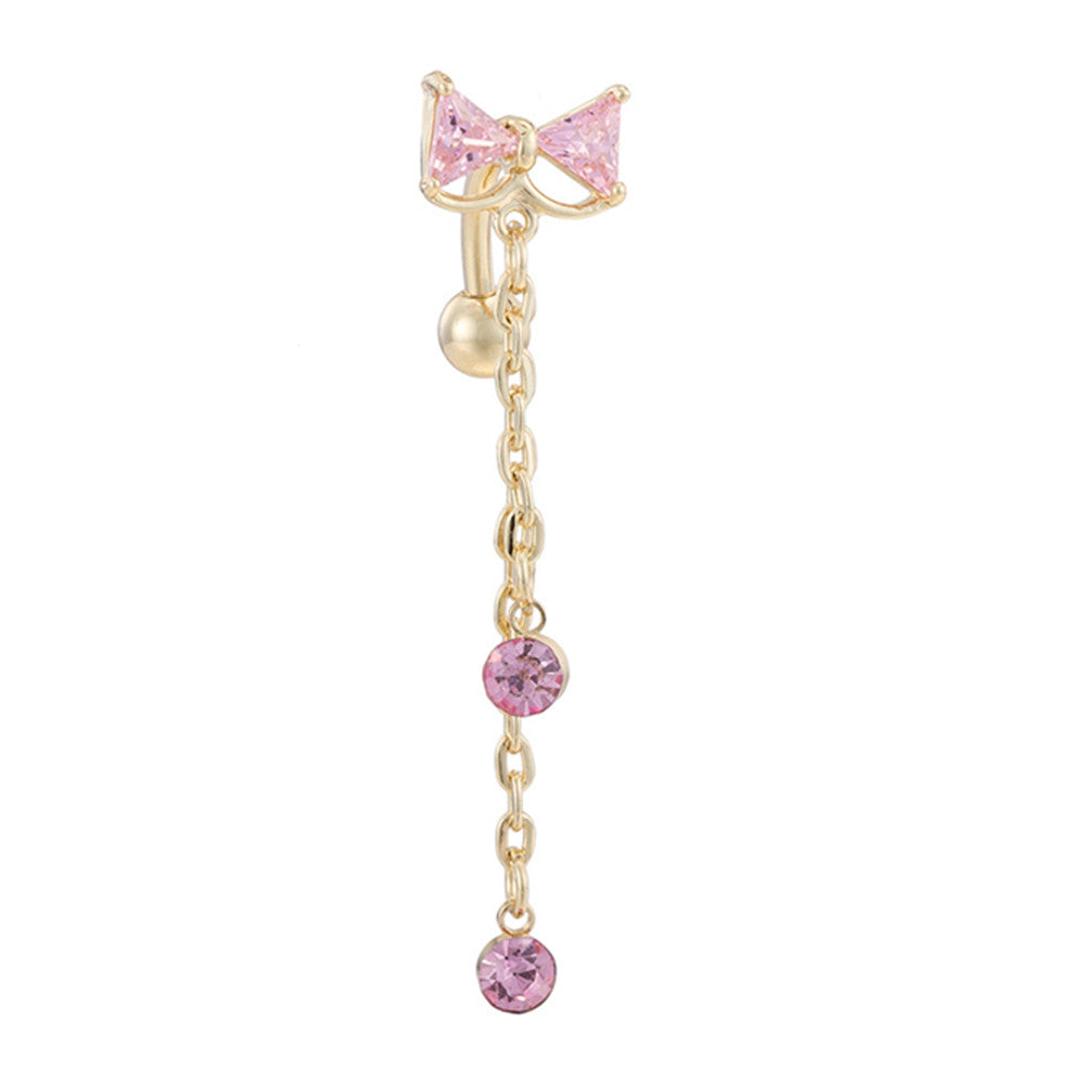 Bowknot Navel Ring Buckle Body Puncture   gold plated pink zircon - Mega Save Wholesale & Retail
