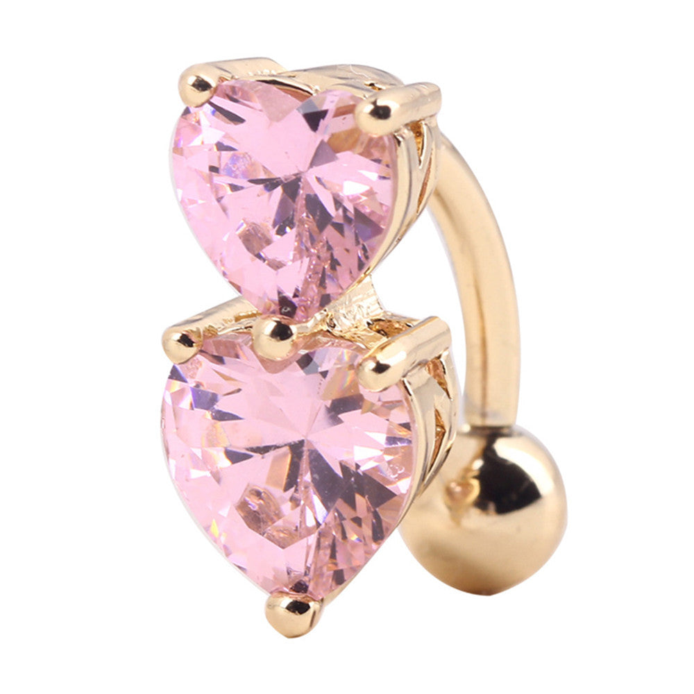 Puncture Ornament Double Love Heart Zircon Navel Ring   gold plated pink zircon - Mega Save Wholesale & Retail