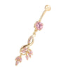 Flower Diamante Navel Nail Ring Buckle Body Puncture    gold plated pink zircon - Mega Save Wholesale & Retail