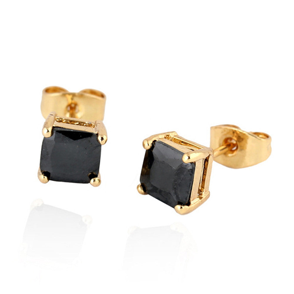 Square Zircon Earings Couples Design  gold plated black zircon - Mega Save Wholesale & Retail