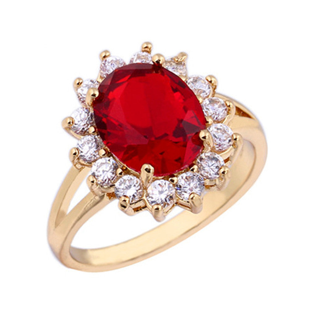 18K Gold Platinum Plated Red  Rhinestone Ring   gold plated red zircon 9# - Mega Save Wholesale & Retail