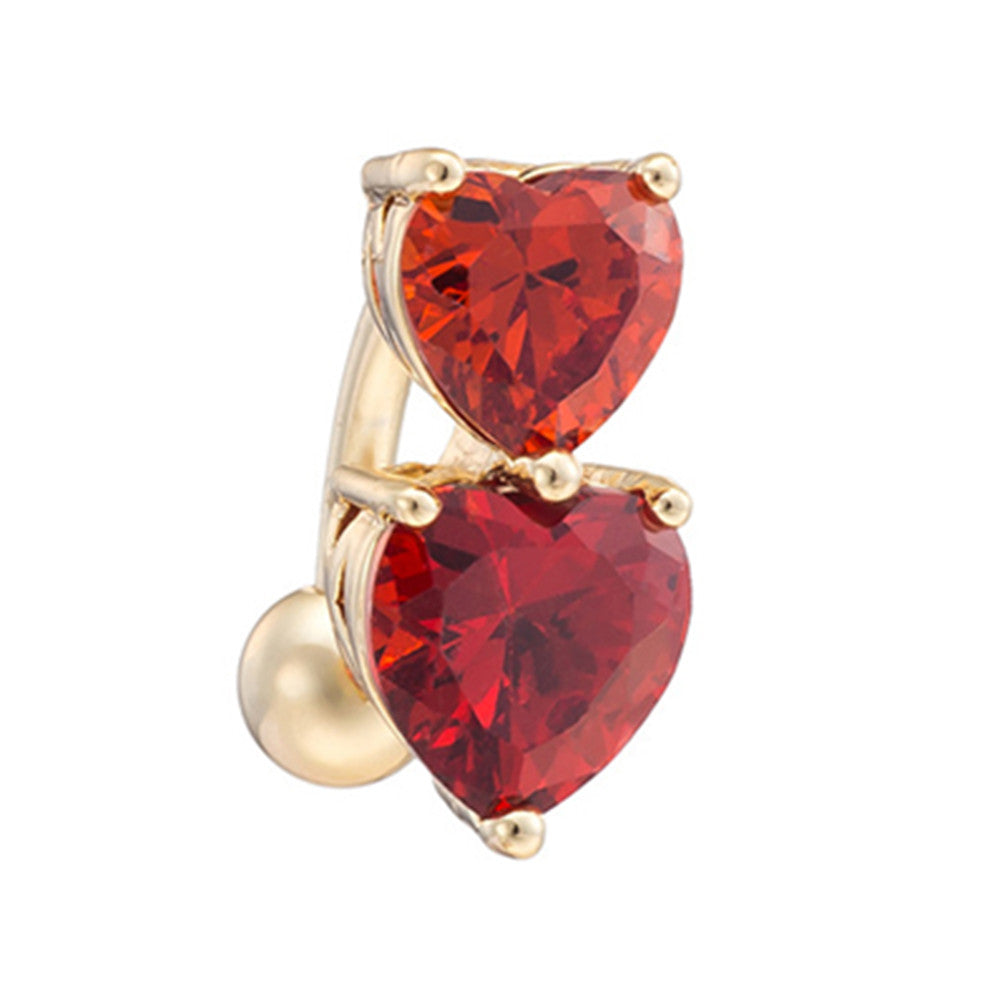 Puncture Ornament Double Love Heart Zircon Navel Ring   gold plated red zircon - Mega Save Wholesale & Retail