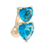 Puncture Ornament Double Love Heart Zircon Navel Ring   gold plated blue zircon - Mega Save Wholesale & Retail