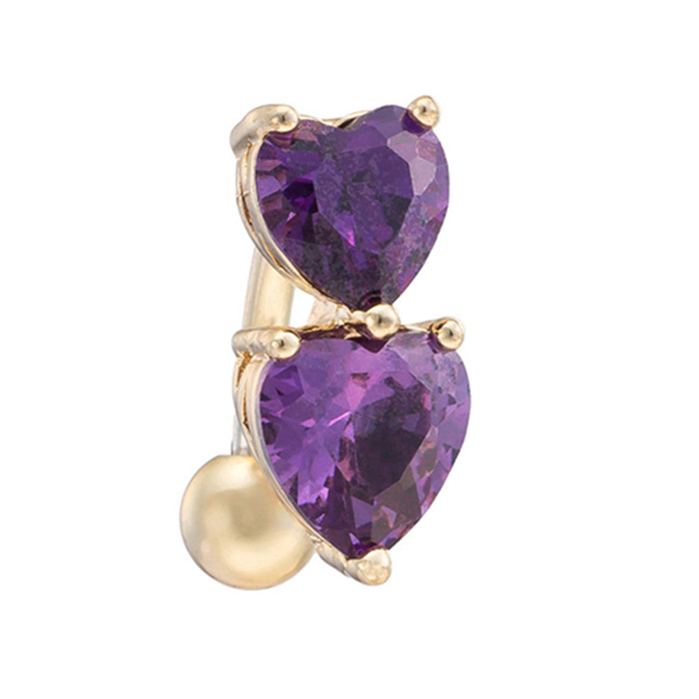 Puncture Ornament Double Love Heart Zircon Navel Ring   gold plated purple zircon - Mega Save Wholesale & Retail