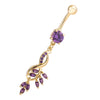Flower Diamante Navel Nail Ring Buckle Body Puncture   gold plated purple zircon - Mega Save Wholesale & Retail