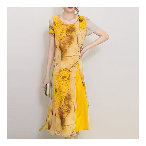 Silk Printing Beach Long Dress Mulberry Silk    S - Mega Save Wholesale & Retail - 1