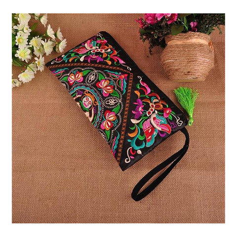 Fashioanble National Style Handbag Vintage Woman Embroidery Small Bag Coin Case   Pansies - Mega Save Wholesale & Retail - 1