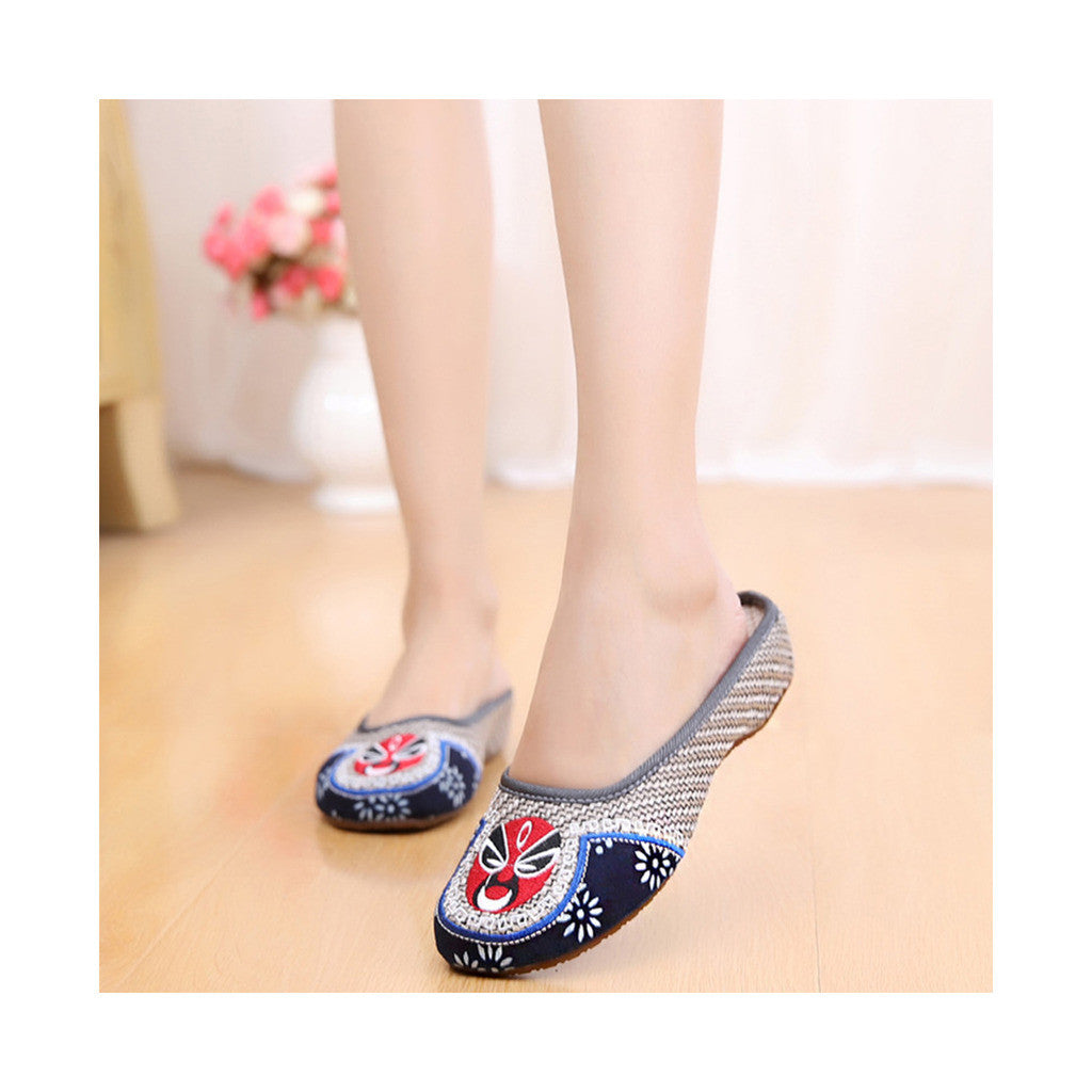 Old Beijing Cloth Shoes Flax Facial Makeup Slippers Embroidered Shoes Sandals Cowhell Sole Small Slipsole Woman Shoes National Style gray - Mega Save Wholesale & Retail - 2