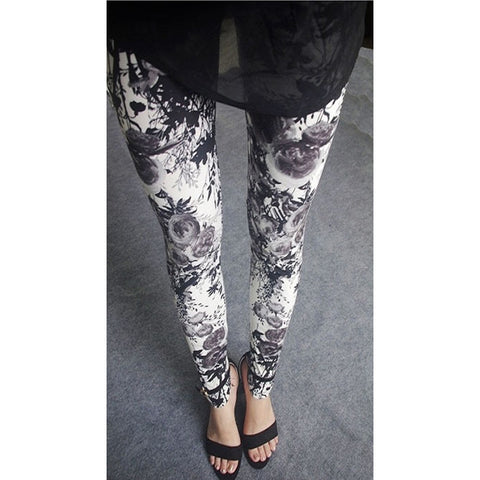 Womens sexy leggings Stretchy fit skin pants trousers Chinese traditional ink Pattern Grey flowers - Mega Save Wholesale & Retail