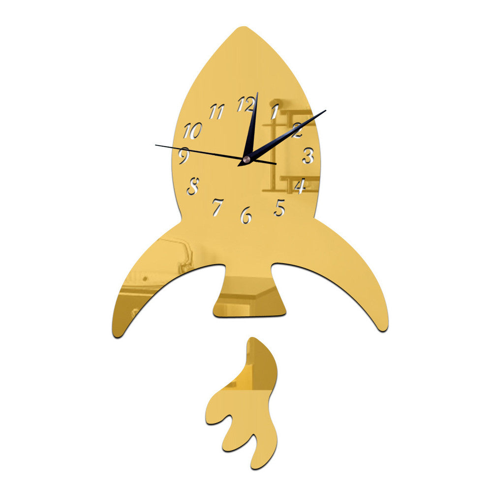 Creative DIY Kid Room Decoration Wall Clock Sticking   golden - Mega Save Wholesale & Retail