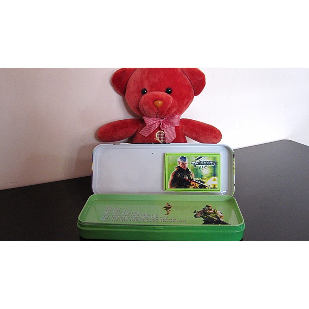 Cute cartoon student supplies Multifunction Iron pencil boxes pencil case with electric calculator   Green Cross Fire - Mega Save Wholesale & Retail - 3