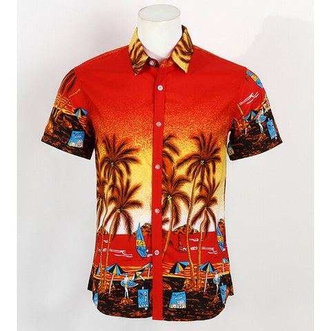 Hot LARGE SIZE Men Aloha Shirt Cruise Tropical Luau Beach Hawaiian Party Palm Flame red  plus fat version - Mega Save Wholesale & Retail