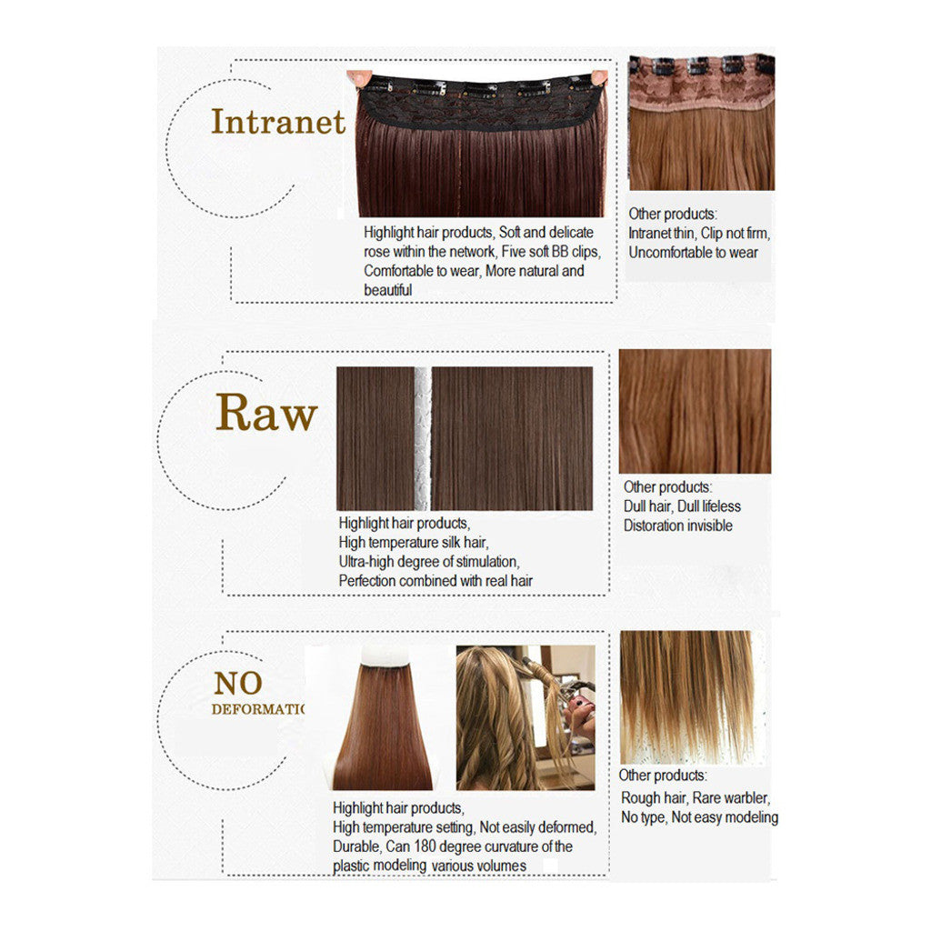 Five card piece 120g high temperature wire synthetic hair Straight hair extension 60 # Seamless wig curtain Highlights   #4 - Mega Save Wholesale & Retail - 2