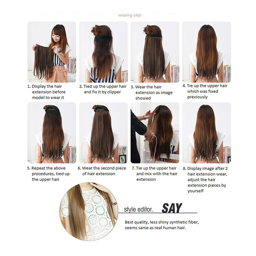 Five card piece 120g high temperature wire synthetic hair Straight hair extension 60 # Seamless wig curtain Highlights   #2 - Mega Save Wholesale & Retail - 3