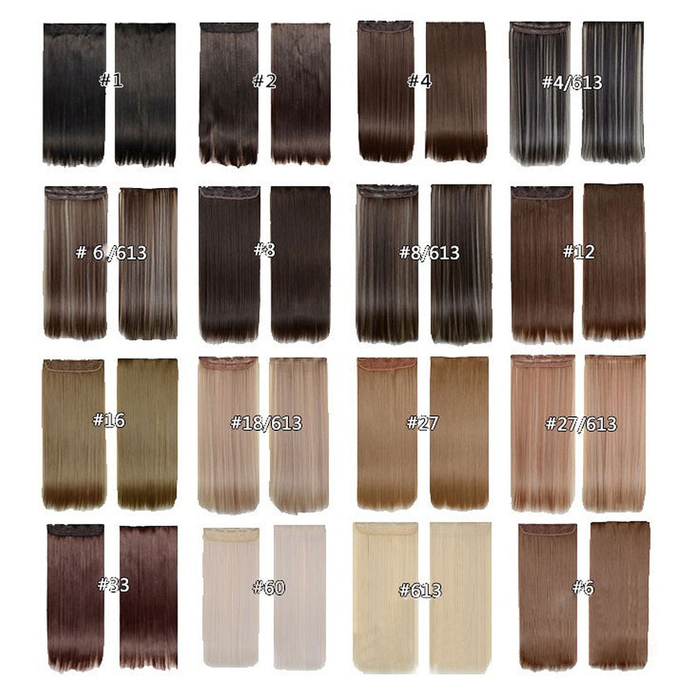Five card piece 120g high temperature wire synthetic hair Straight hair extension 60 # Seamless wig curtain Highlights   #60 - Mega Save Wholesale & Retail - 5