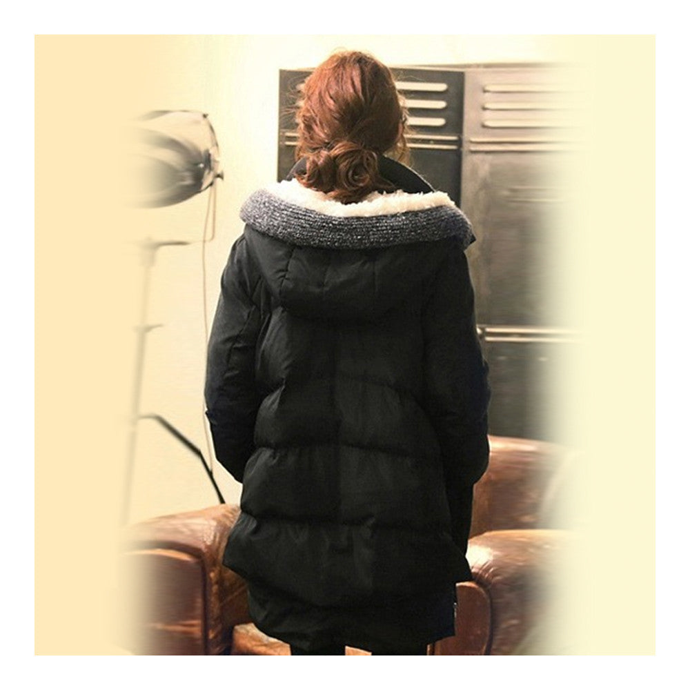 Woman Winter Thick Loose Middle Long Down Coat    black   S - Mega Save Wholesale & Retail - 3