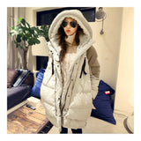 Woman Winter Thick Loose Middle Long Down Coat    beige   S - Mega Save Wholesale & Retail - 1