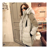 Woman Winter Thick Loose Middle Long Down Coat    beige   S - Mega Save Wholesale & Retail - 2