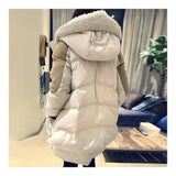 Woman Winter Thick Loose Middle Long Down Coat    beige   S - Mega Save Wholesale & Retail - 3