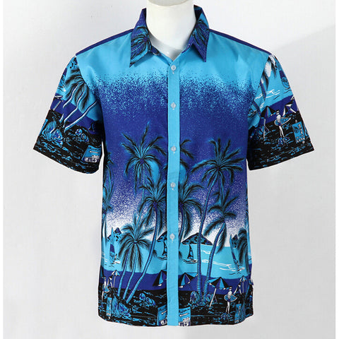 Hot LARGE SIZE Men Aloha Shirt Cruise Tropical Luau Beach Hawaiian Party Palm Gradient blue  plus fertilizer version - Mega Save Wholesale & Retail