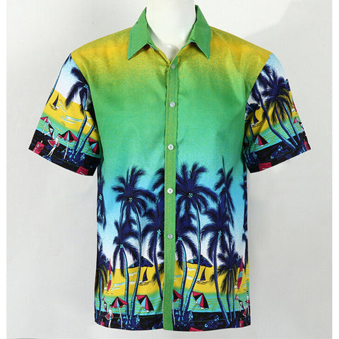 Hot LARGE SIZE Men Aloha Shirt Cruise Tropical Luau Beach Hawaiian Party Palm Gradient green  plus fat version - Mega Save Wholesale & Retail
