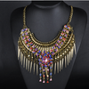 European Exaggerated Big Brand Foreign Trade Necklace Vintage Zircon Flower Tassel Two-layer Necklace Woman   old golden colorful zircon - Mega Save Wholesale & Retail