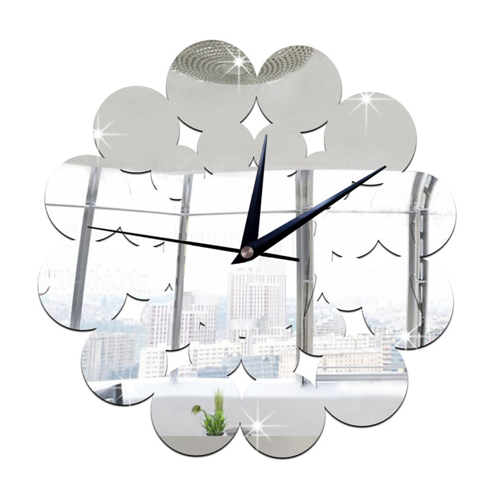 Living Room Decoration Silent Paper-cut Flower Mirror Wall Clock   silver - Mega Save Wholesale & Retail