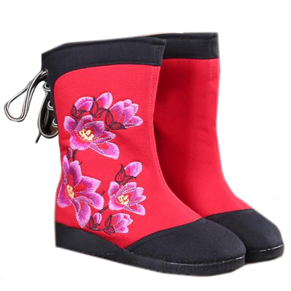 Vintage Beijing Cloth Shoes Embroidered Boots black - Mega Save Wholesale & Retail - 1
