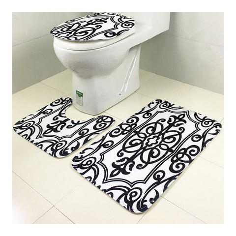 Carpet 3pcs Set Toilet Seat Anti-skidding Ground Mat white gemometry - Mega Save Wholesale & Retail