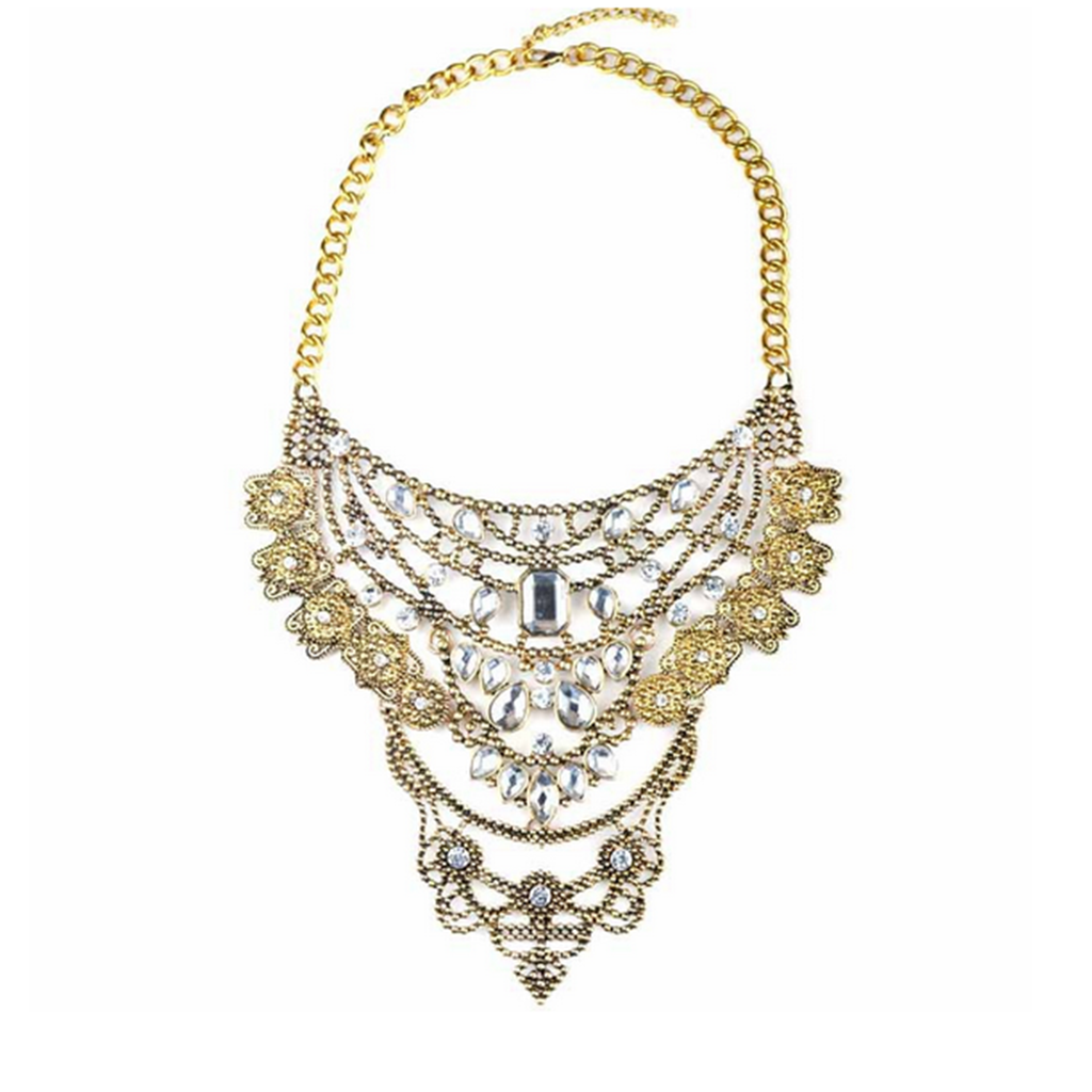 New European Style Alloy Exaggerated Necklace Foreign Trade Ornament Chavicle Necklace Ornament   golden - Mega Save Wholesale & Retail