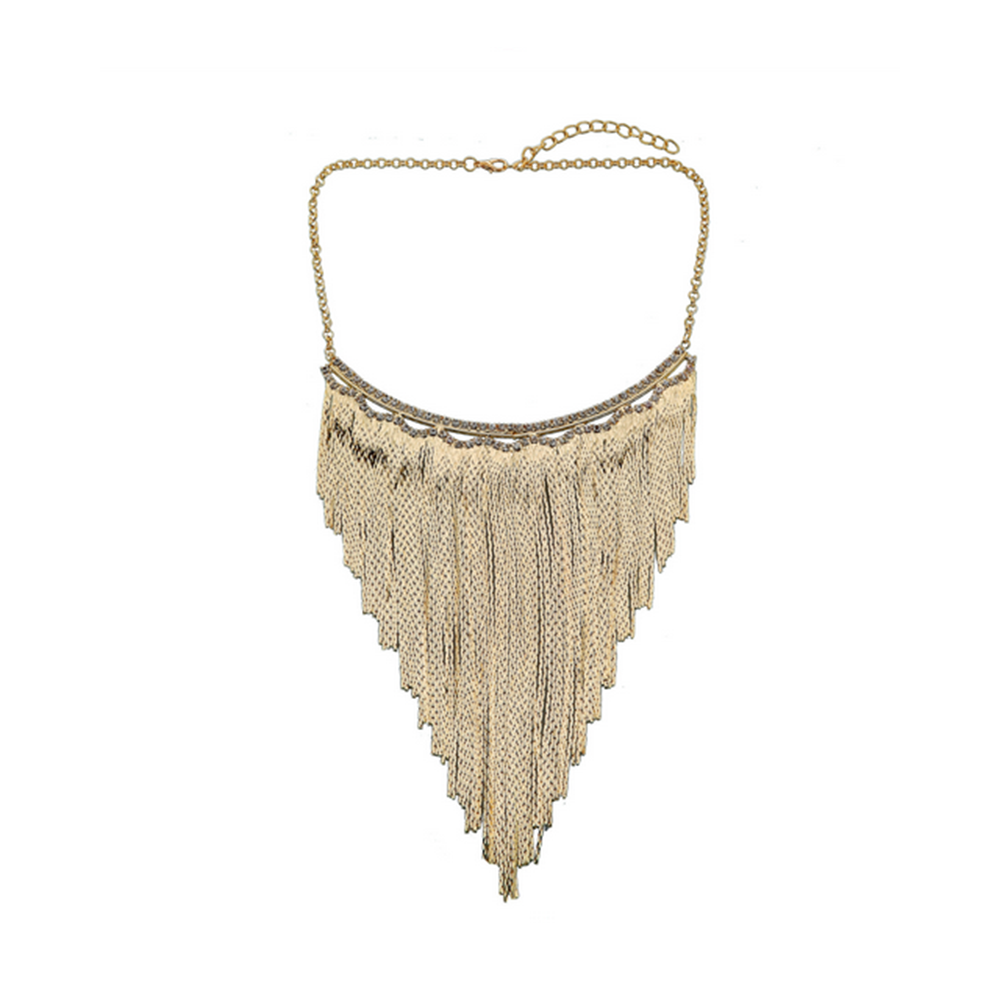 European Fashionable Big Brand Necklace Classic Metal Tassel Necklace Rock and Roll Punk Performance Ornament    golden - Mega Save Wholesale & Retail