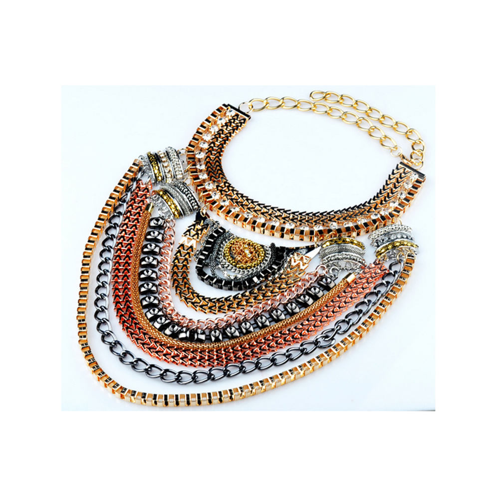 European Big Brand Necklace Foreign Trade Original Order Ornament Multi-layer Exaggerated Zircon Necklace Ornament  golden necklace - Mega Save Wholesale & Retail