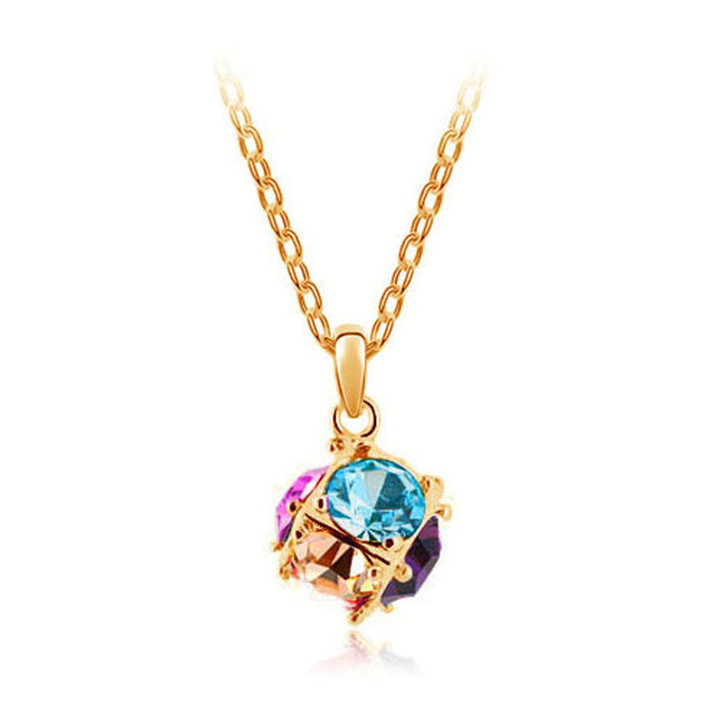 Korean jewelry wholesale crystal ball colorful crystal necklace - Love Cube 1111-46  Gold   sea blue - Mega Save Wholesale & Retail