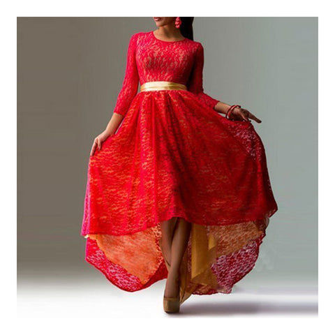 Lace Dress Irregular Bottom Swallow-tailed Slim Sexy Dress   red   S - Mega Save Wholesale & Retail - 1