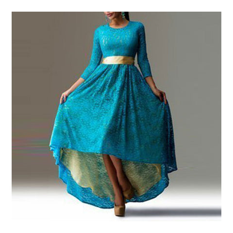 Lace Dress Irregular Bottom Swallow-tailed Slim Sexy Dress   light blue   S - Mega Save Wholesale & Retail - 1