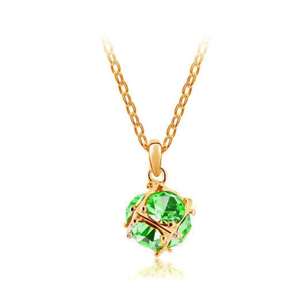 Korean jewelry wholesale crystal ball colorful crystal necklace - Love Cube 1111-46   Gold color - Mega Save Wholesale & Retail