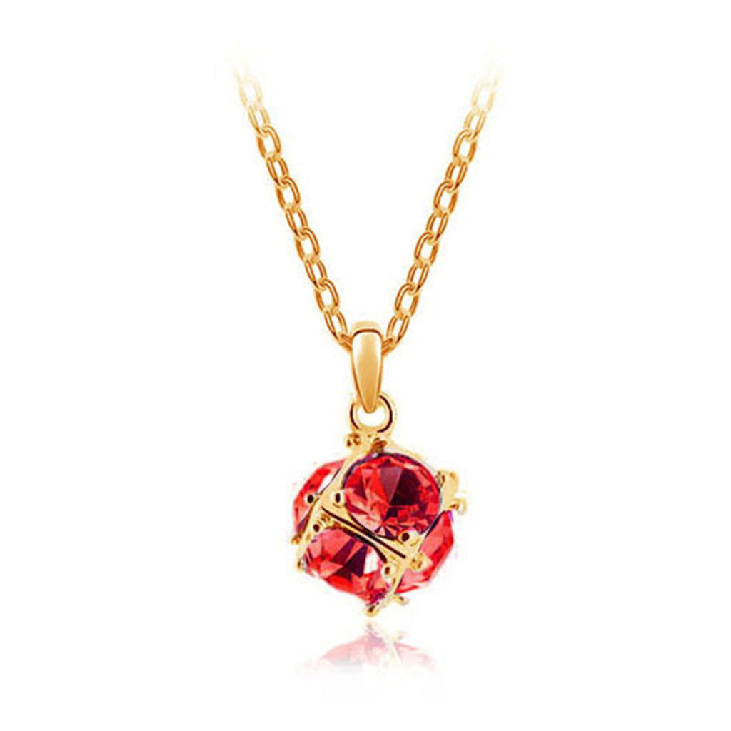 Korean jewelry wholesale crystal ball colorful crystal necklace - Love Cube 1111-46   Gold  red - Mega Save Wholesale & Retail