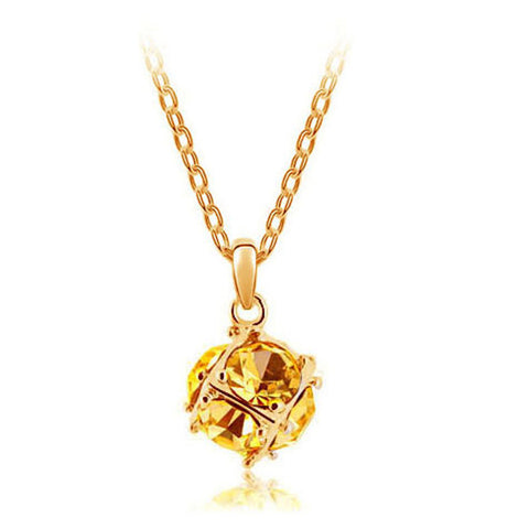 Korean jewelry wholesale crystal ball colorful crystal necklace - Love Cube 1111-46  Gold    gold - Mega Save Wholesale & Retail