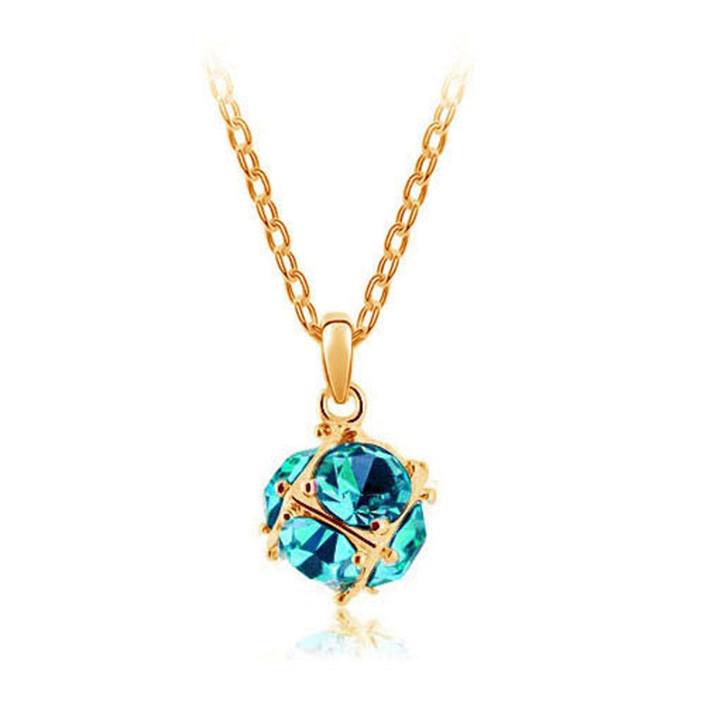 Korean jewelry wholesale crystal ball colorful crystal necklace - Love Cube 1111-46  Gold   Blue Diamond - Mega Save Wholesale & Retail