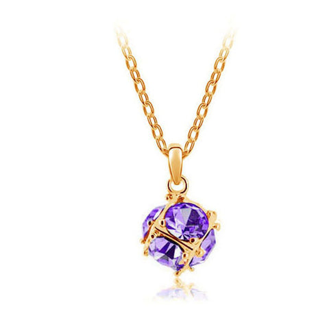 Korean jewelry wholesale crystal ball colorful crystal necklace - Love Cube 1111-46  Gold    violet - Mega Save Wholesale & Retail