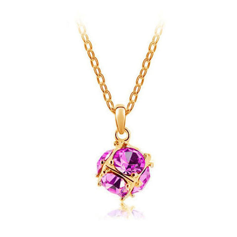 Korean jewelry wholesale crystal ball colorful crystal necklace - Love Cube 1111-46  Gold    Rose - Mega Save Wholesale & Retail