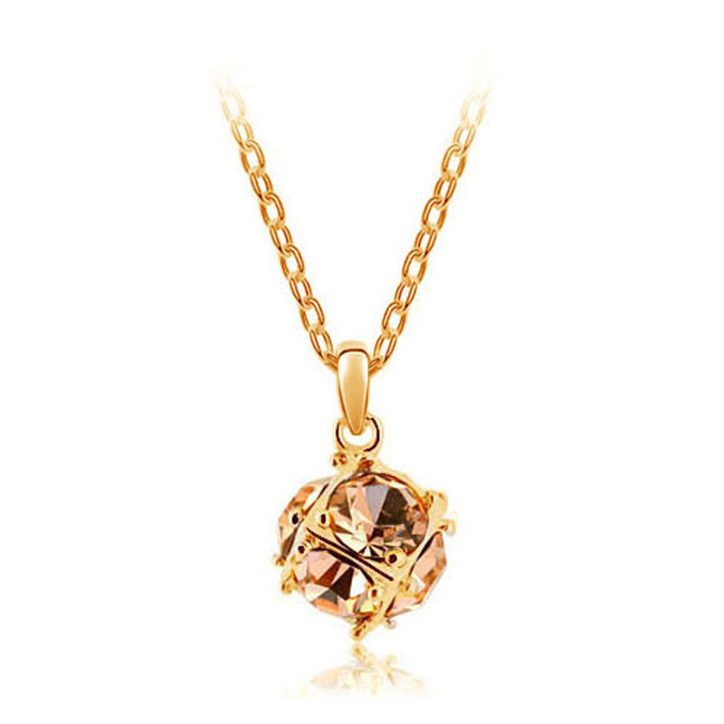 Korean jewelry wholesale crystal ball colorful crystal necklace - Love Cube 1111-46  Gold    champagne - Mega Save Wholesale & Retail
