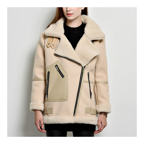 Suede Lamb Wool Middle Long Coat   khaki   S - Mega Save Wholesale & Retail - 1