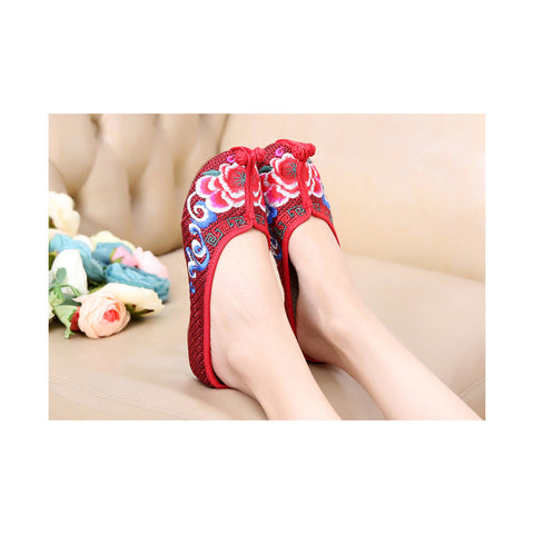 Beijing Cloth Vintage Embroidered Wine Red Home Slippers for Woman Online in National Style with Colorful Patterns - Mega Save Wholesale & Retail - 1
