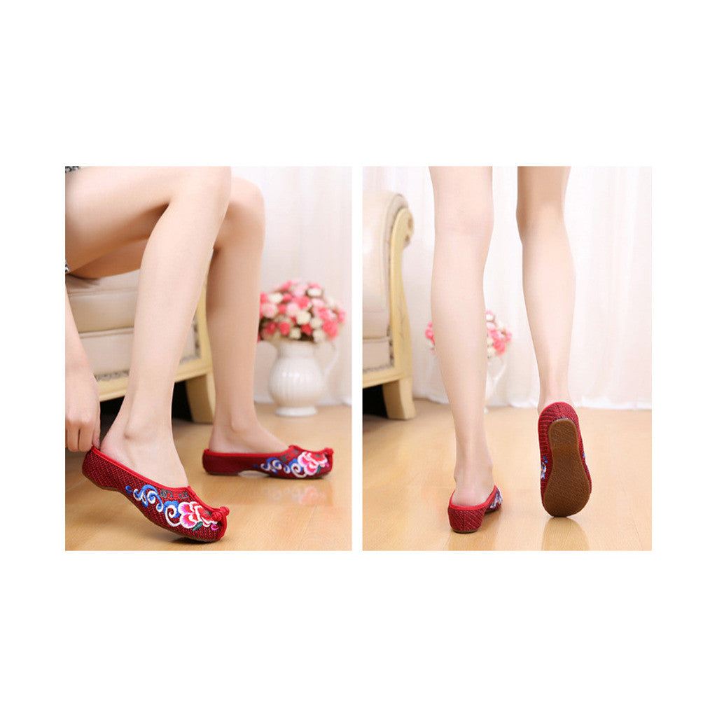 Beijing Cloth Vintage Embroidered Wine Red Home Slippers for Woman Online in National Style with Colorful Patterns - Mega Save Wholesale & Retail - 2
