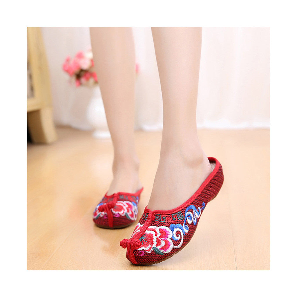Beijing Cloth Shoes National Style Vintage Embroidered Shoes Flax Cloth Woman Home Slippers wine red - Mega Save Wholesale & Retail - 3
